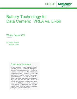 WP 229 - Battery Technology for Data Centers: WRLA vs. Li-ion