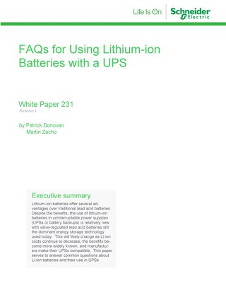 WP 231- FAQs for Usin Lithium-ion Batteries with a UPS