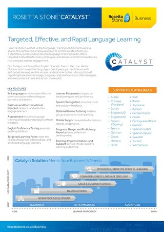 Rosetta Stone Catalyst® Fact Sheet (BrE)