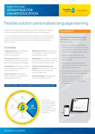 Rosetta Stone Advantage Fact Sheet (BrE)