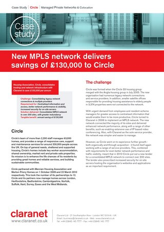 New MPLS network delivers savings of 130,000 pounds to Circle