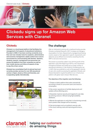 Clickedu signs up for Amazon Web Services with Claranet