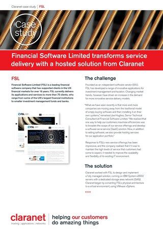 Financial Software Limited transforms service delivery with a hosted solution from Claranet