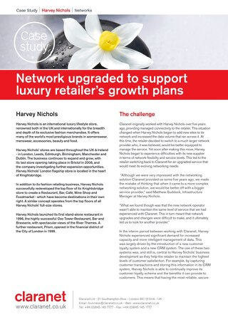 Network upgraded to support luxury retailer Harvey Nicols' growth plans