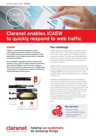 ICAEW use Claranet hosting to quickly respond to web traffic