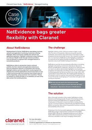 NetEvidence bags greater flexibility with Claranet