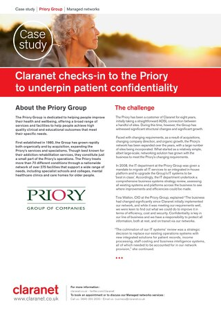 Priory Group conserves patient confidentiality with Claranet's help