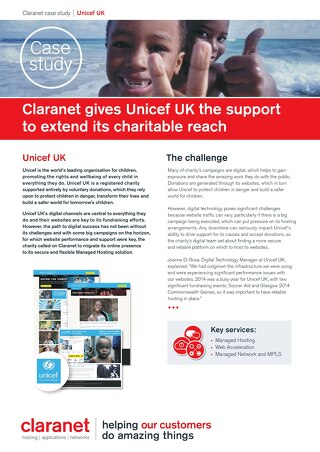 Claranet gives Unicef UK the support to extend its charitable reach