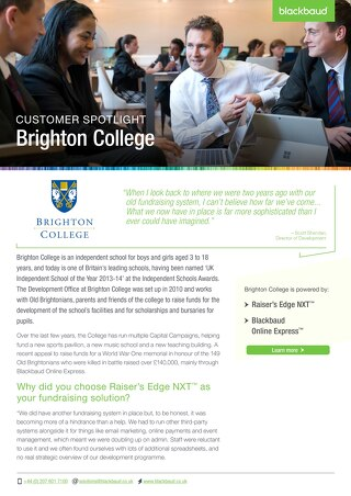 Brighton College | Raiser's Edge NXT