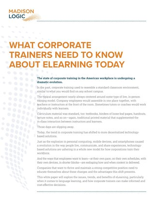 What Corporate Trainers Need to Know About eLearning Today
