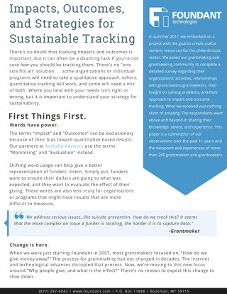 Impacts, Outcomes, and Strategies for Sustainable Tracking