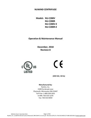 [Manual] NuWind NU-C200 General Purpose Centrifuge Product Manual