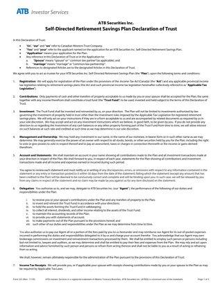 ATB Securities Inc. Declaration of Trust