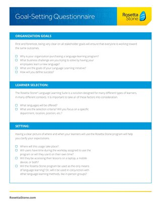 Goal Setting Questionnaire