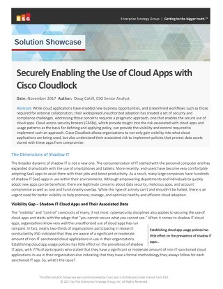 Securely Enabling the Use of Cloud Apps with Cisco Cloudlock