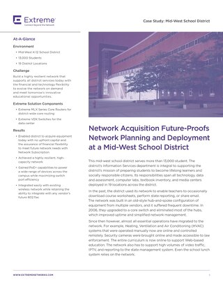 Network Acquisition Future-Proofs Network Planning and Deployment at a Mid-West School District