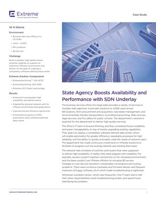 State Agency Boosts Availability and Performance with SDN Underlay