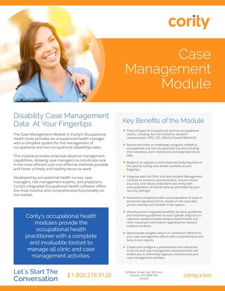 One Pager - Case Management Module