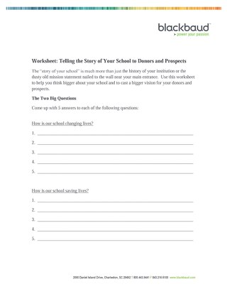 Worksheet Telling the Story of Your School to Donors and Prospects