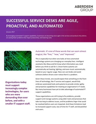 Successful Service Desks are Agile, Proactive, and Automated