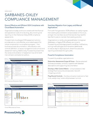 Datasheet: Sarbanes-Oxley Compliance