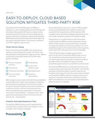 Datasheet | ProcessUnity Vendor Risk Management
