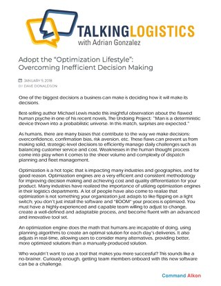 "Featured on "" Talking Logistics:"" Adopt the ""Optimization Lifestyle:"" Overcoming Inefficient Decision Making"