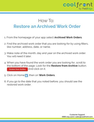 How To: Restore an Archived Work Order