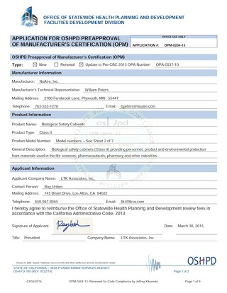 [Certificate] OSHPD Preapproval Certification OPM-0204-13 for Biosafety Cabinets