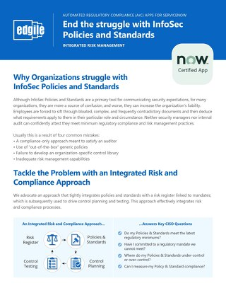 End the struggle with InfoSec Policies and Standards with ServiceNow Apps