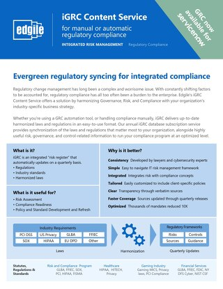 iGRC Content Service for manual or automatic regulatory compliance