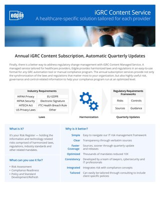 iGRC Content Service - A healthcare-specific solution tailored for each provider