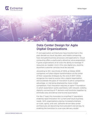 Data Center Design For Agile Digital Organizations