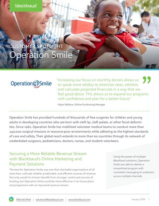 Operation Smile Secures a More Reliable Revenue Stream