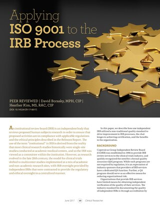 Clinical Researcher: Applying ISO9001 to the IRB Process