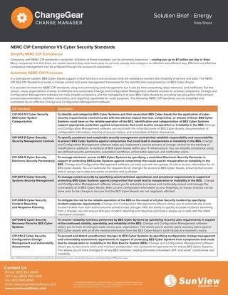 ChangeGear NERC CIP Compliance