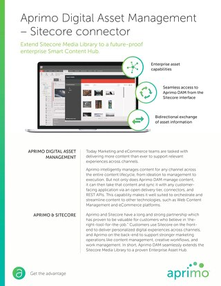 Aprimo Digital Asset Management – Sitecore Connector Data Sheet