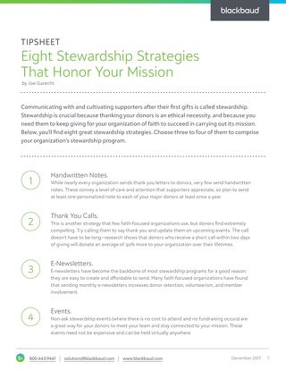 Tipsheet: Stewardship strategies that honor your mission