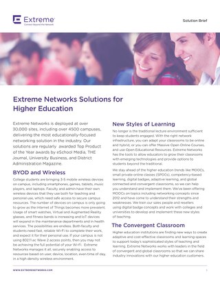 Extreme Networks Solution for Higher Education