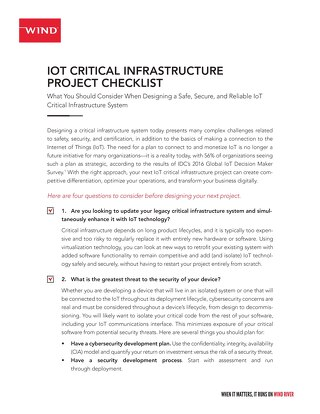 IoT Critical Infrastructure Project Checklist