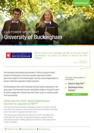 University of Buckingham | Raiser's Edge NXT