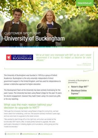 University of Buckingham | Raiser's Edge NXT