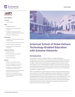 American School of Dubai Delivers Technology-Enabled Education with Extreme Networks