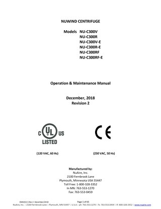 [Manual] NuWind NU-C300 Series General Purpose Centrifuge