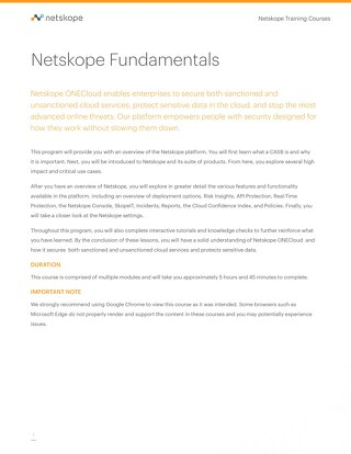 Online Training: Netskope Fundamentals