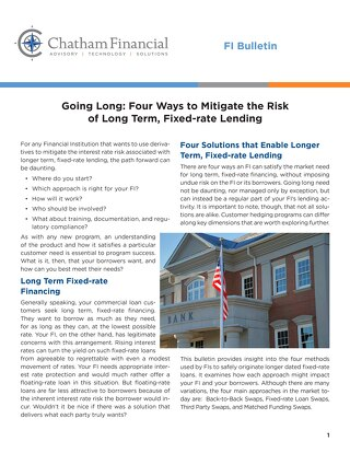 Going Long: Four Ways to Mitigate the Risk of Long-Term, Fixed-Rate Lending