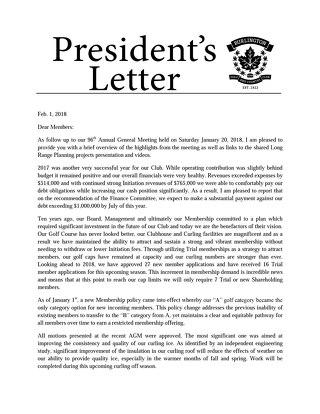 President's Letter ~ February 5 2018