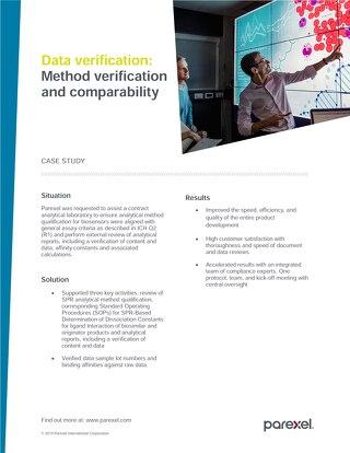 Case study data verification method verification and comparability