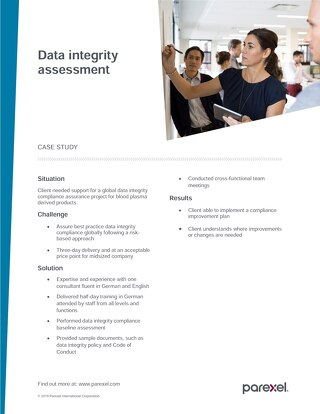 Case study data integrity assessment