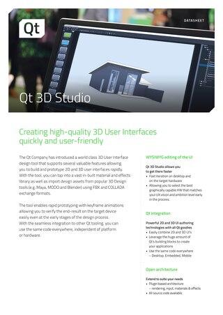 Datasheet: Qt 3D Studio